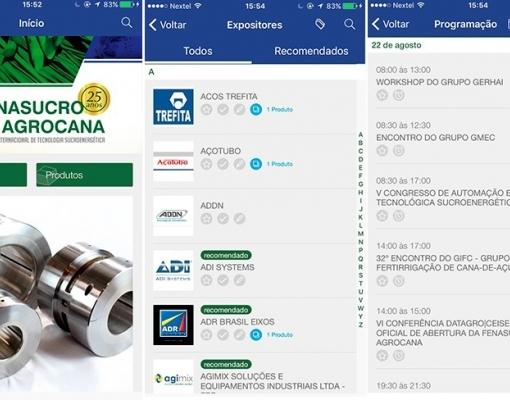 Aplicativo da Fenasucro & Agrocana permite que usuário esteja por dentro das últimas novidades da feira, das empresas e de seus produtos. Divulgação