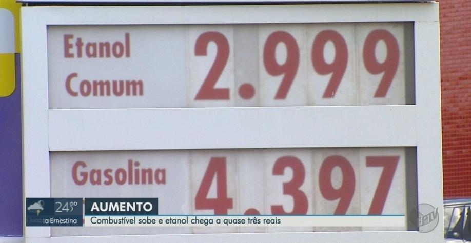 Etanol chega a R$ 2,99 nos postos em Ribeirão Preto, SP