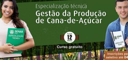 Senar Goiás lança Especialização Técnica em Gestão de Cana-de-Açúcar