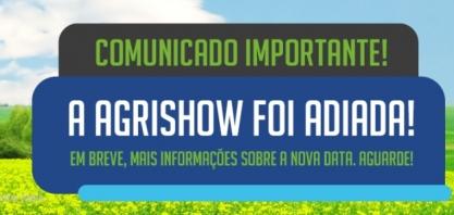 Comunicado oficial de adiamento da Agrishow 2020