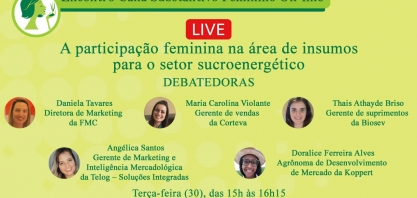 Live: A participação feminina na área de insumos para o setor sucroenergético