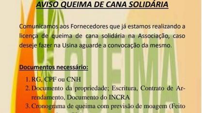Canavieiro associado da AFCP tem até o próximo dia 16 para pedir licença de queima sem custo